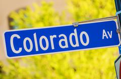 Colorado Avenue Street Sign on a Pole. Stock Photos