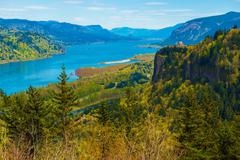 Columbia River Gorge and the Famous Crown Point Vista - stock photo