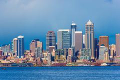 Stock Photo of Downtown Seattle Skyline. City of Seattle, Washington, United States.