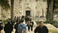 Old Jaffa Gate in Jeruslaem's Walls 1 Stock Footage