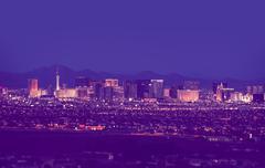 Las Vegas Cityscape at Night in Vintage Purple Stock Photos