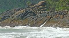 Large ocean waves breaking on the rocks Stock Footage