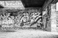 Inner-city Vandalized Walls with Spray Paint Art - stock photo