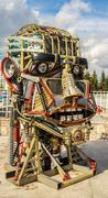 Scrap Metal Human Robot Head - stock photo