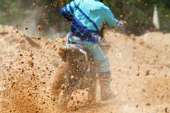 Mud debris from a motocross race - stock photo