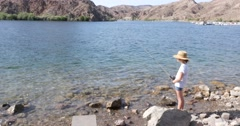 Little Girl Fishing on Colorado River 4K Stock Video - stock footage