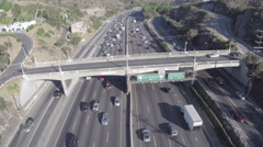 Aerial Shot of 101 Freeway Sign at Mulholland Drive Stock Footage