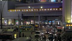 Bus station in Tokyo at night - stock footage