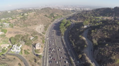 Stock Video Footage of Aerial Shot of 101 Freeway with Downtown LA in Background