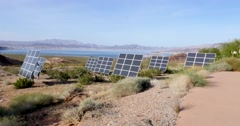 Solar Energy Panels Near Lake Mead 4K Stock Video Stock Footage