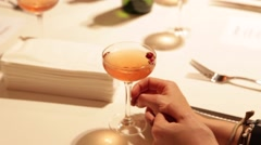 Women Drinking Cocktails at New York Dinner Party Stock Video Stock Footage