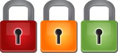 Multicolored red yellow green security lock Illustration clipart - stock illustration