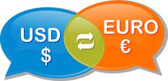 Euro USD Currency exchange rate conversation negotiation Illustration clipart - stock illustration
