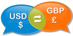 USD GBP Currency exchange rate conversation negotiation Illustration clipart - stock illustration