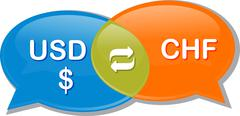 USD CHF Currency exchange rate conversation negotiation Illustration clipart - stock illustration