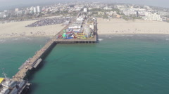 Aerial Shot of Santa Monica Pier Stock Footage