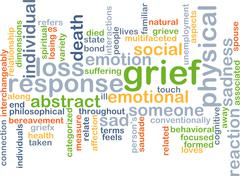 Grief wordcloud concept illustration Stock Illustration