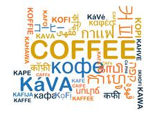 Coffee multilanguage wordcloud background concept Stock Illustration