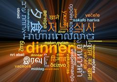dinner multilanguage wordcloud background concept - stock illustration