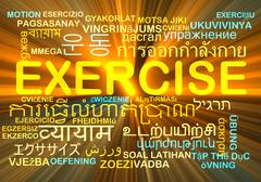 Exercise multilanguage wordcloud background concept glowing - stock illustration