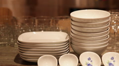 Dishes Set for Dinner Party in New York Stock Video Stock Footage