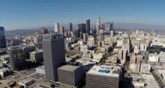 Aerial Shot of Downtown Los Angeles from South Side Stock Footage