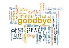 Goodbye multilanguage wordcloud background concept - stock illustration