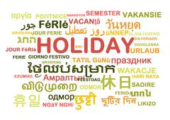 Holiday multilanguage wordcloud background concept - stock illustration