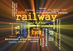 Railway multilanguage wordcloud background concept glowing - stock illustration