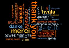 Thank you multilanguage wordcloud background concept Stock Illustration