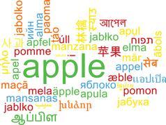 Apple multilanguage wordcloud background concept Stock Illustration
