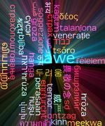 Awe multilanguage wordcloud background concept glowing - stock illustration