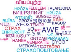 Awe multilanguage wordcloud background concept - stock illustration