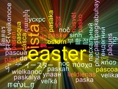 Easter multilanguage wordcloud background concept glowing - stock illustration