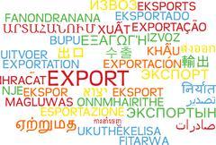 Export multilanguage wordcloud background concept - stock illustration