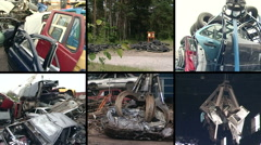 Used car parts and special equipment handle metal scrap. Collage - stock footage
