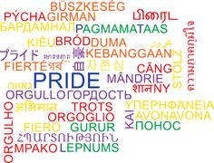 Pride multilanguage wordcloud background concept Stock Illustration