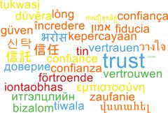 Trust multilanguage wordcloud background concept Stock Illustration