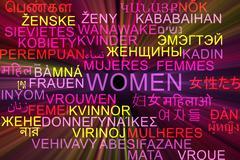 Women multilanguage wordcloud background concept glowing - stock illustration