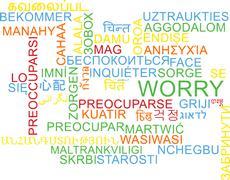 Worry multilanguage wordcloud background concept Stock Illustration