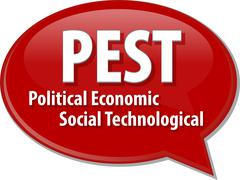 PEST acronym word speech bubble illustration Stock Illustration