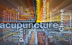 Acupuncture wordcloud concept illustration glowing Piirros
