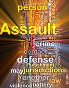 Assault background concept wordcloud glowing Stock Illustration