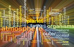 Atmosphere wordcloud concept illustration glowing - stock illustration