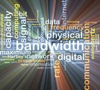 bandwidth wordcloud concept illustration glowing - stock illustration