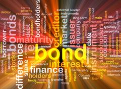 Bond wordcloud concept illustration glowing - stock illustration