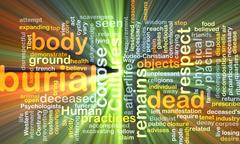 Stock Illustration of Burial wordcloud concept illustration glowing