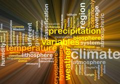 Climate wordcloud concept illustration glowing - stock illustration