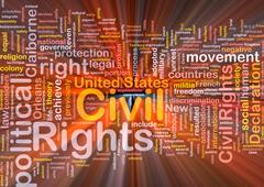 Civil rights wordcloud concept illustration glowing Stock Illustration