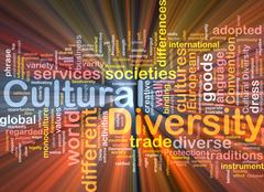 Stock Illustration of cultural diversity wordcloud concept illustration glowing